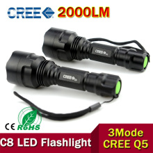 NEW Lanternas  C8 2000 Lumens CREE XML Q5 LED Flashlight 18650 Torch lgiht led lanterna lamp edc waterproof flashlgiht ZK60