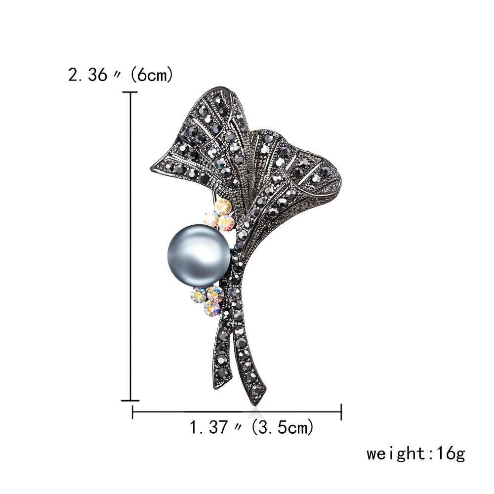 Warna Hitam Penuh Berlian Imitasi Tanaman Bros Daun Mutiara Cabang Bros untuk Wanita Besar Bros Pin Vintage Fashion Perhiasan