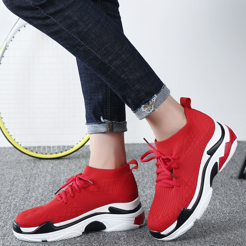 Breathable High Top Sneakers Women Height Increasing 5 CM Platform Shoes Knit Upper Casual Shoes Woman White / Black/Red