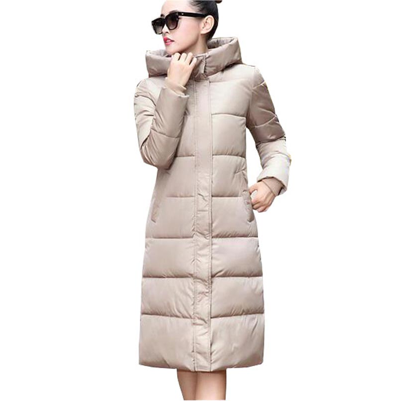 2017 New Plus Size Women Winter Cotton Coats & Parkas Hooded Thick Warm X-Long Parka Jacket For Women CE0346