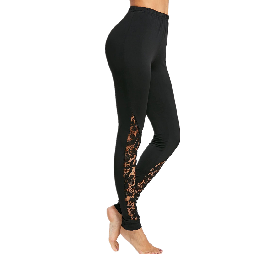 YSDNCHI Lace Skinny Leggings Black Sexy Elegant Sheer Floral Summer Women Gym Push Up Going Out Trousers Fitness Leggings