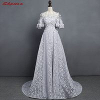 Grey Long Lace Evening Dresses Party Women Formal Evening Gowns Dresses Wear Robe De Soiree Longue