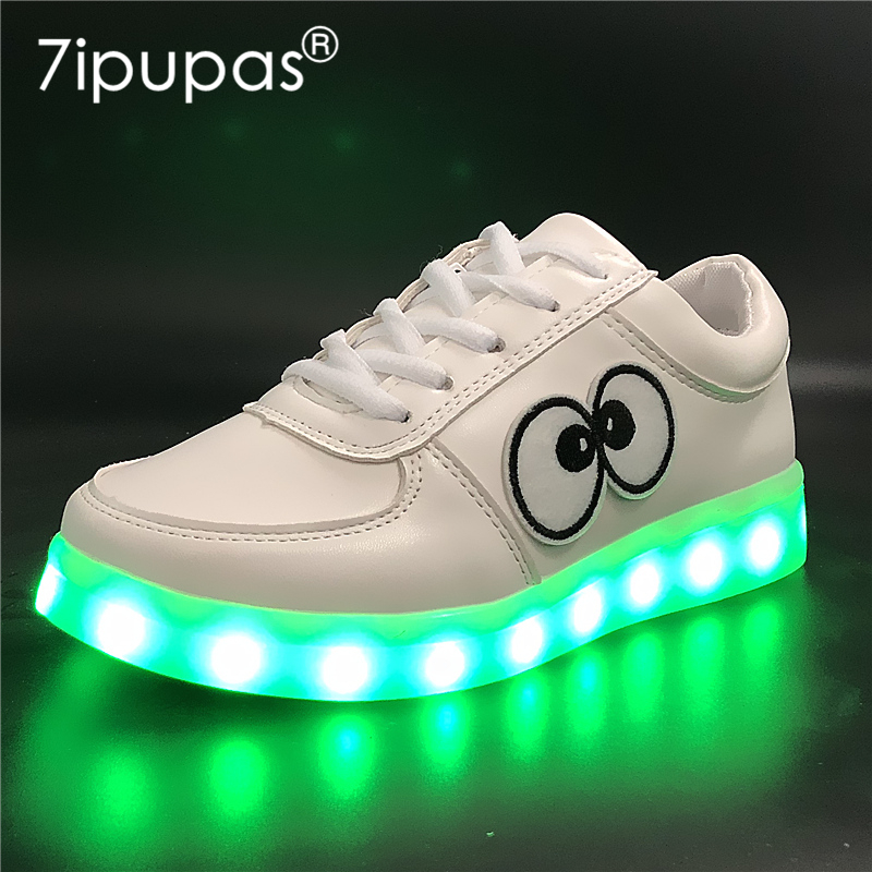7ipupas EUR 30-44 Boy Girl Charger Led Light Shoe For Children Big eyes Kids Luminous Sneaker New Spring Breathable Sports Shoes