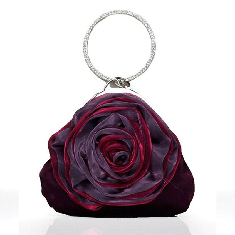 CAIYUE Evening Bags Clutch Slik Purple Champagne Rose Embossed Handbag Lady Floral Shoulder Female Bolsas Luxury Designer