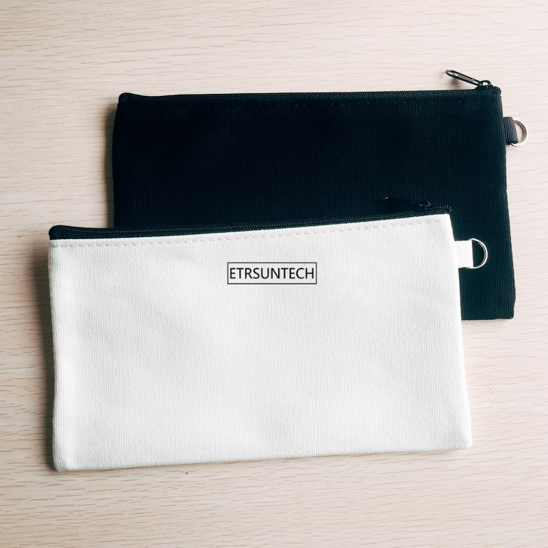 100 Pcs/lot 2 Farben Leere Leinwand Zipper Bleistift Fällen Stift Beutel Baumwolle Kosmetik Taschen Make-up Taschen Handy Kupplung Veranstalter