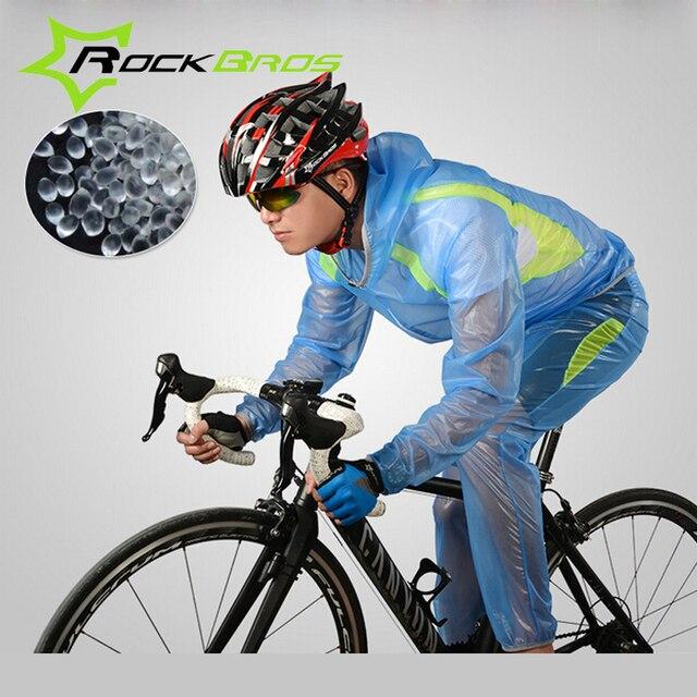 569d01824 Conjunto Capa de Chuva Ciclismo Jaqueta Impermeável À Prova de Vento  Outerwear Corrida MTB ROCKBROS Bicicleta