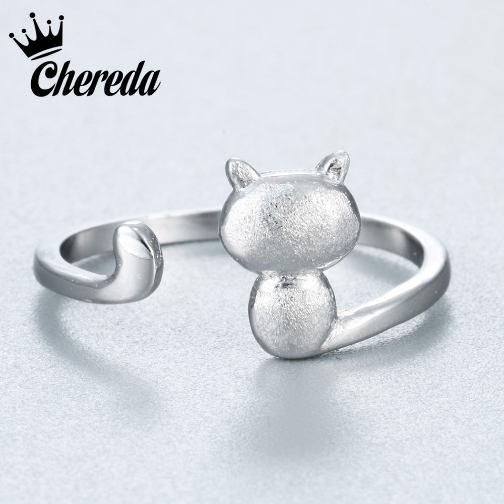 Chereda Silver Plated Opening Adjustable Ring Lovely Cat Kitten Lady Club Jewelry Ladies and Girls Finger Jewelry Gift