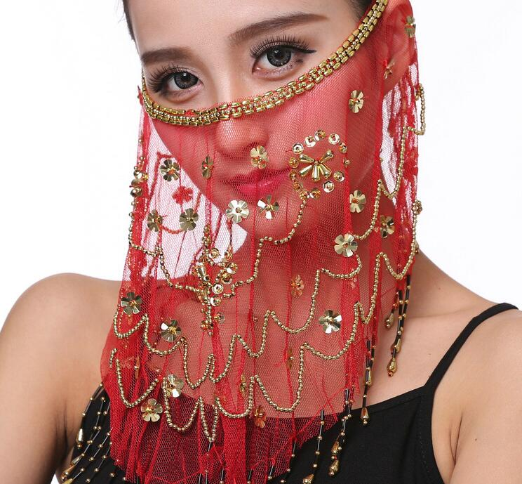 Women Embroidered Mesh Belly Dance Face Veils Plum Flower Veil Indian Dance Costume Jewelry Props Face Mask