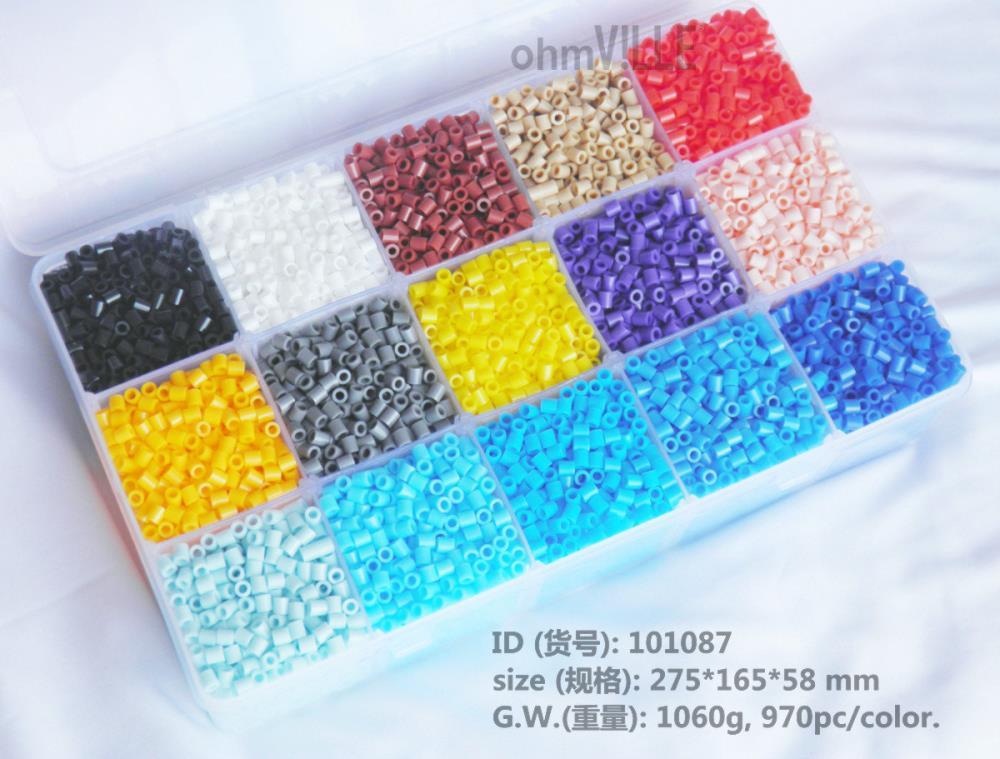 101087 5mm Perler Perles 15 Couleur 14600 pcs Boîte Ensemble Hama Perles, fusible Perles + 3 Fer Papiers Pour Livraison + Livraison Gratuite!!
