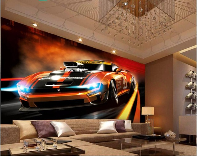 Custom mural 3d photo wallpaper Dynamic fashion sports car