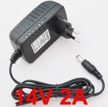 Conversor adaptador dc 14v 2a 2000ma, 1 peça, 14v, 2a, ac 100v-240v, fonte de alimentação tomada ue 5.5mm x 2.1mm-2.5mm