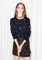 VogaIn Luxury Brand New Fashion Navy Sweater Shiny Bling Bling Stars Pattern Jacquard Women Wool Sweaters Jumper