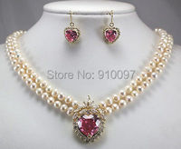 LHX54013>>New 2 row white pearl necklace + heart pink zircon pendant earring set