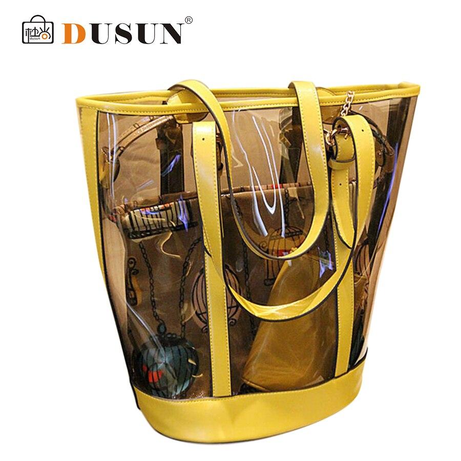 2016 Summer beach bag Famous brand exquisite Fashion PU leather Women bag Transparent Shoulder handbag Ladies