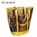 2016 bolsa de playa de Verano Famosa marca exquisita Moda cuero de LA PU de Las Mujeres bolsa Transparente Hombro bolso de Las Señoras bolsas de Mano