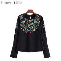 Future Time Embroidery Blouse Women Flower Embroidered Black Shirt Female O Neck Long Sleeve Tops Women