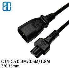 0.3M 3*0.75mm 정사각형 C14 C5 IEC320 C14 수 플러그 C5 암 전원 연장 케이블 코드 전원 어댑터 와이어 10A/250V