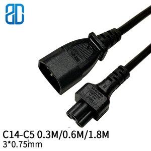 Image 1 - 0.3m 3*0.75mm quadrado C14 C5 tomada macho iec320 c14 para c5 fêmea cabo de extensão de alimentação cabo adaptador fio 10a/250v