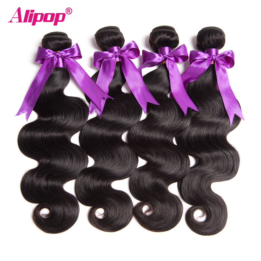 Alipop Hair Bundles Peruvian Body Wave Human Hair Bundles Remy Hair Extensions Alipop Hair Weave Natural Black Color Can Be dyed