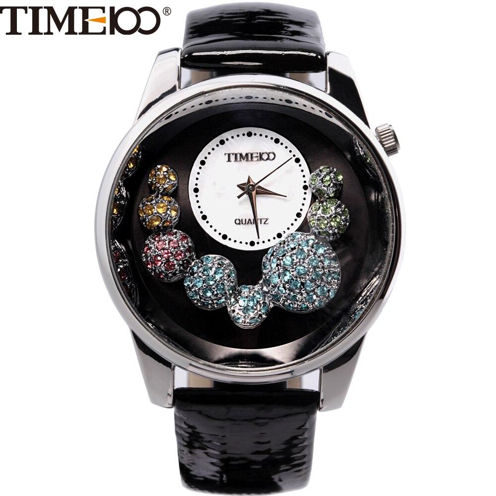 Time100  Fashion Women's Watches Black Leather Strap Diamond Quartz Watches Casual Ladies Wrist Watch Clock Relogio Feminino