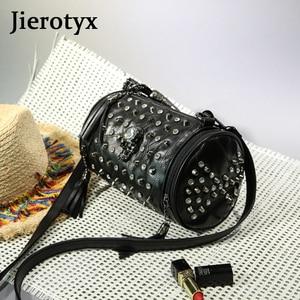 Image 3 - Сумка мессенджер JIEROTYX женская из натуральной овечьей кожи, роскошный саквояж на плечо с заклепками в стиле панк, цвет черный