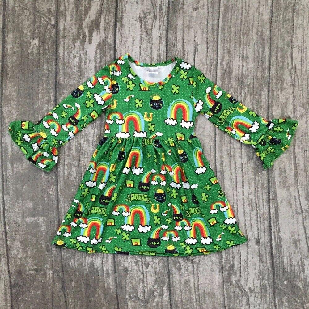 Новое поступление St. martin день девушки для маленьких детей Детская одежда Хлопковая весенняя радуга Зеленый оборками Трилистники платье Бут...