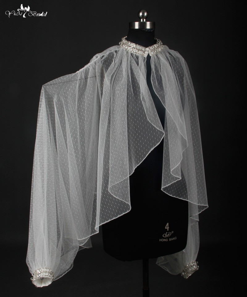 rsj16 пальто свадебное болеро де Ренда точки тюль кружево болеро шаль обертывания болеро Mariage свадебные