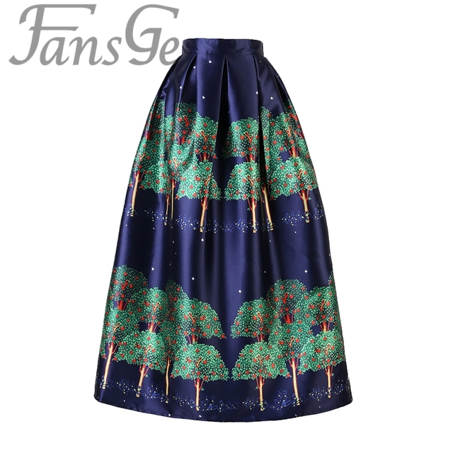 Fashion Brand Women Long Skirts High Waist Pleated Maxi Tutu Skirts Vintage Green Tree Print Tulle Skirts Faldas Saia Longa