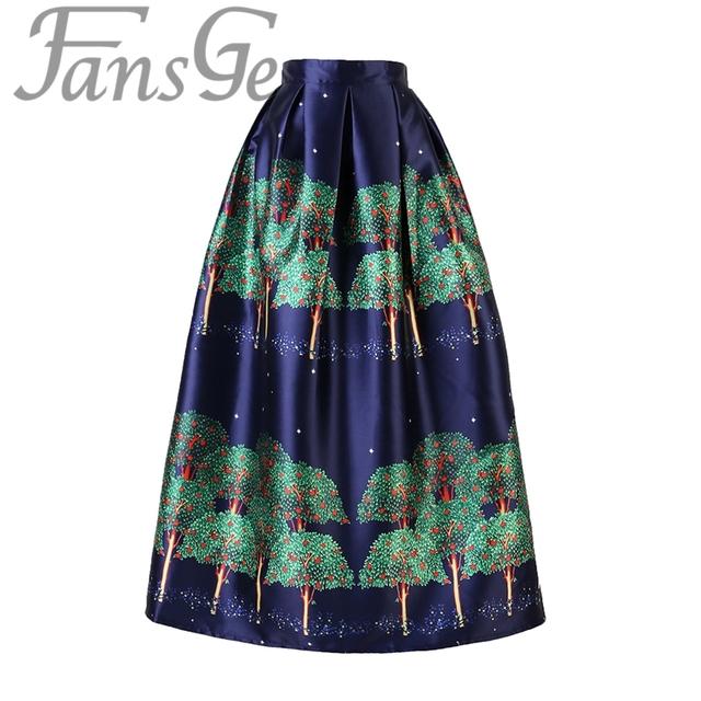 Marca de moda de las mujeres faldas largas de cintura alta plisada maxi faldas del tutú vintage green tree imprimir faldas de tul faldas saia longa