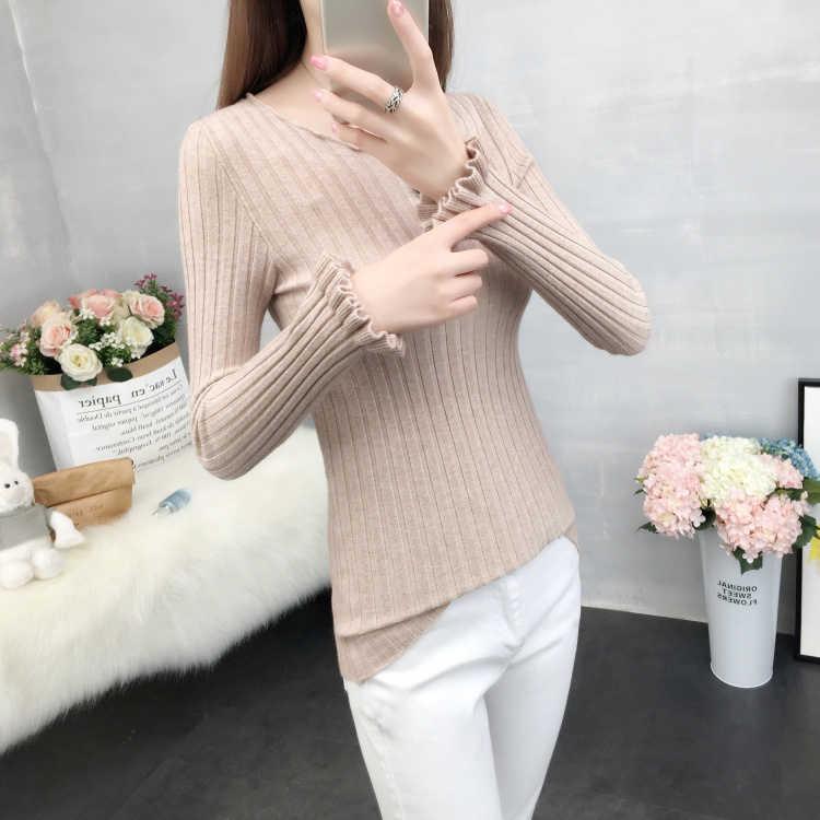 2019 зимний свитер женский новый свитер женская голова короткий абзац тонкий корейский вариант тонкий круглый вырез длинный рукав lotu