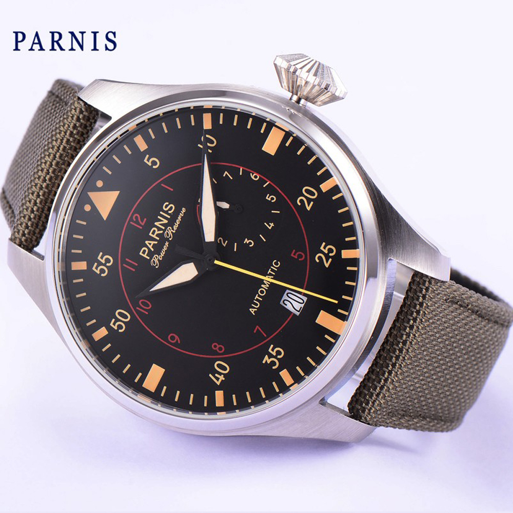 Parnis watch 47mm power reserve luminous hands sandwich case Automatic movement Men's watch 47mm parnis power reserve brushed case yellow numbers automatic men