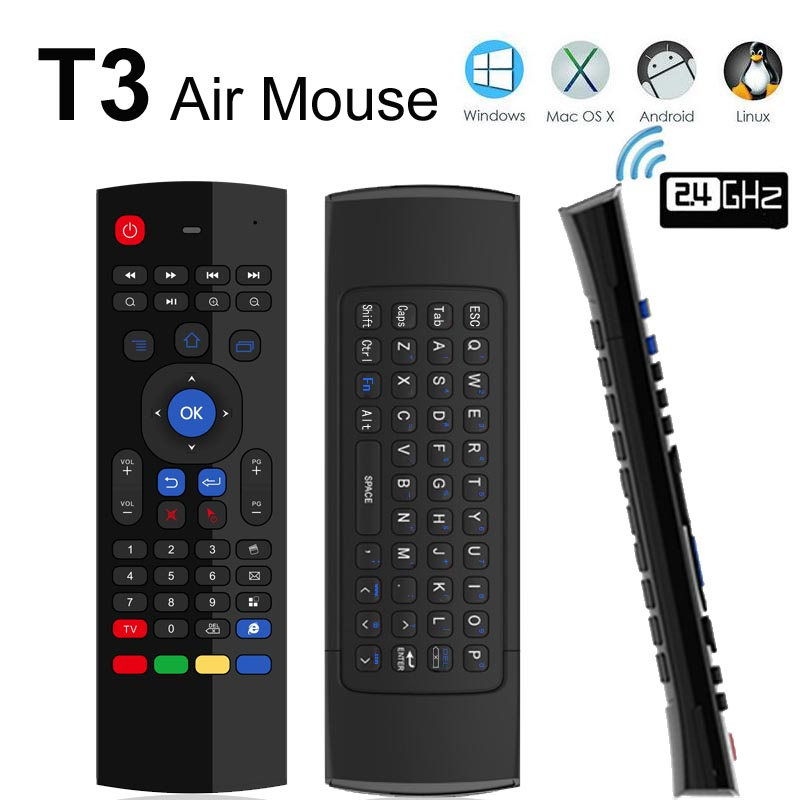10pcs Wireless Mini Keyboard T3 2.4GHz Fly Air Mouse with Mic Universal Remote Control for Android TV Box PC Support IR learning