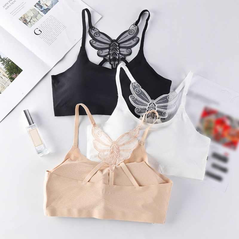 Butterfly Beauty Back Sexy Solid Bras for Women 2019 New Fashion Female Cozy Ice Silk Brethable Summer Seamless Elastic BH Bra