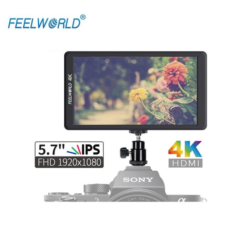 Feelworld F570 5.7 pouces DSLR sur le moniteur de champ de l'appareil photo IPS 4 K entrée HDMI pour Sony Canon Nikon accessoires de cardan d'appareil photo sans miroir