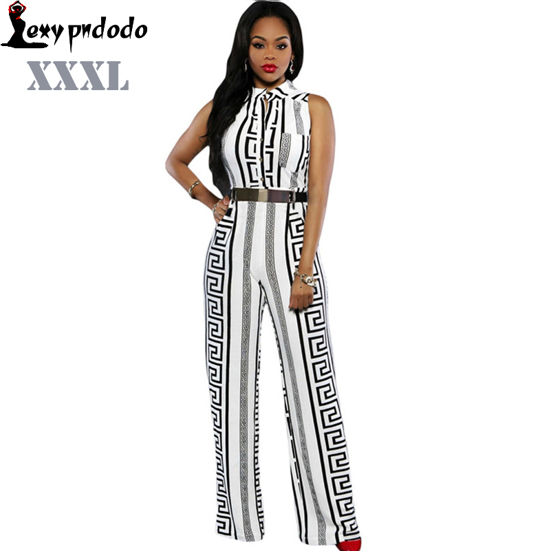 PNDODO Fashion Long Jumpsuits For Women Print Gold Belted Rompers Womens Jumpsuit 2016Summer Overalls Playsuits Bodysuit Macacao