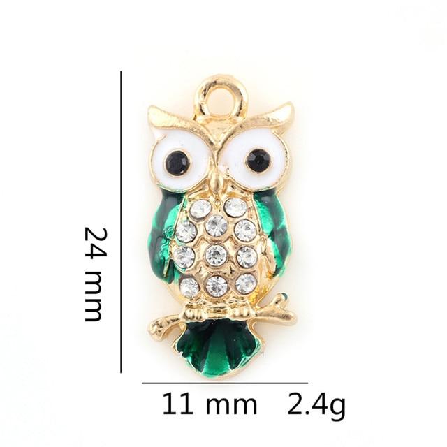 24*11mm femmes Vintage Style argent or alliage mignon hibou Bracelet à breloques collier pendentif breloques bijoux pendentif résultats