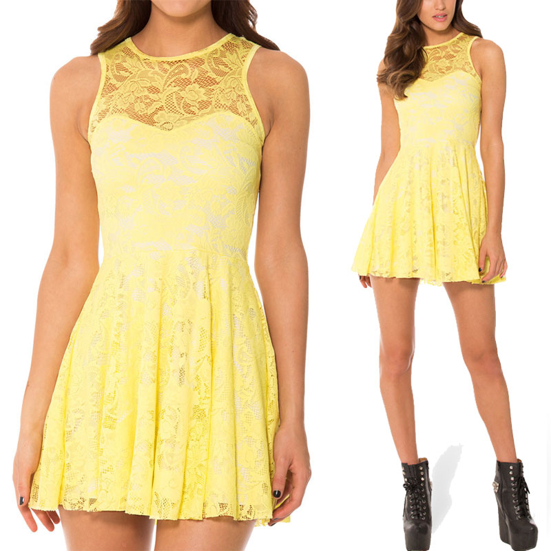 Summer Dress Women Sleeveless Yellow Lace Skater Dress Cheap Clothes