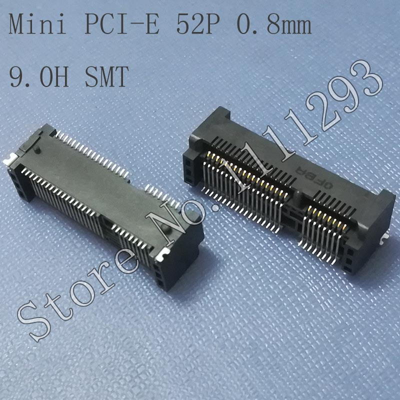 5pcs/lot Mini PCI E 52P , 0.8mm , 9.0H SMT Connector for Asus HP etc Laptop-in Connectors from Lights & Lighting