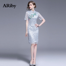 ARiby Women Dress Summer Lace Elegant 2019 Chinese Style Modified Cheongsam Floral Embroidery Mandarin Collar