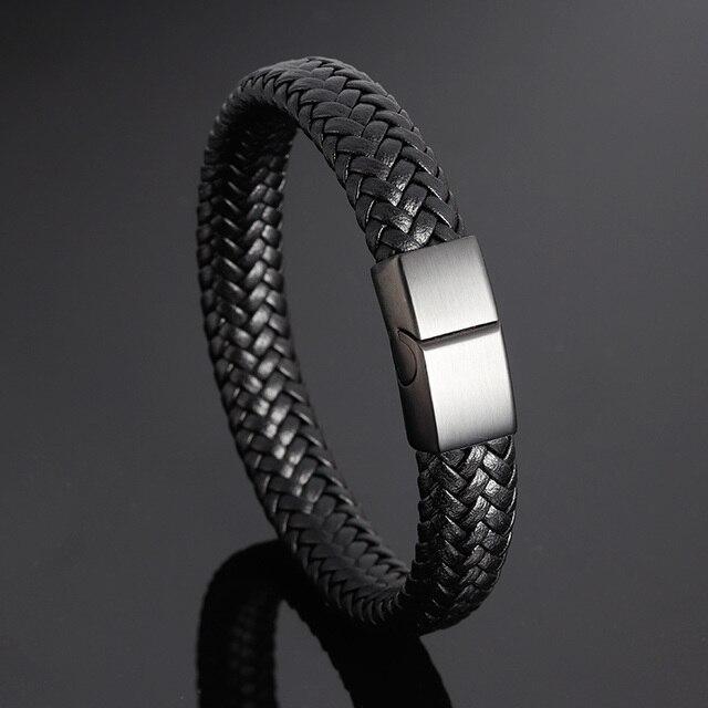 Brand Bracelet Fashion Stainless Steel Bracelets Woven Genuine Leather black Bracelet Men Bracelet Classic Charm Magnetic Buckle