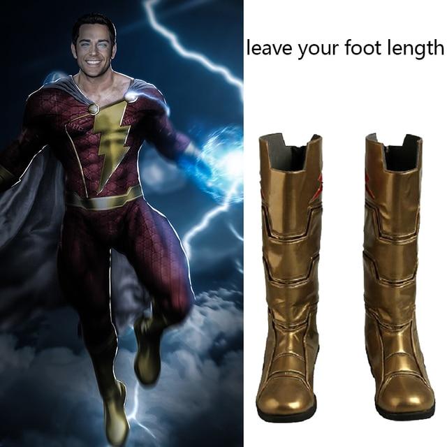 Captain Marvel Costume Shazam Cosplay Boots Billy Batson Superhero Shoes Halloween Party Adult Men Accessories Custom