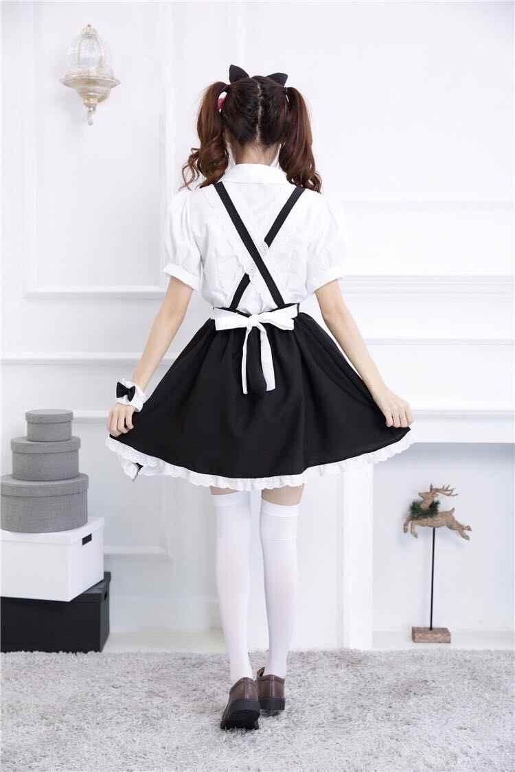 Mori fille Lolita Kawaii chat sangle a-ligne jupe + chemises + bandeau + anneau de main 4 pièces ensembles 3 couleur Cosplay Costumes