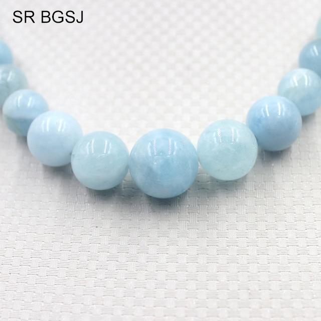 Free Shipping 6-14mm Fashion Women Jewelry Gems Stone Beads Bohemia Women Aquamarines  Stone Necklace 18inch