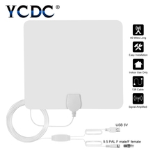hot deal buy ycdc 80 mile range digital hdtv indoor antena f male connector ultra-thin flat hd tv television antenna signal amplifier booster