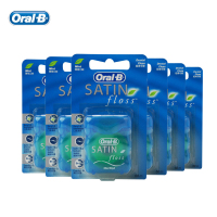 Oral B SATIN Dental Floss Smooth Deep Clean Gum Care Oral Hygiene Waxed Flat Thread Flosser Fresh Mint 50m/pcs (6 pcs=1 pack)