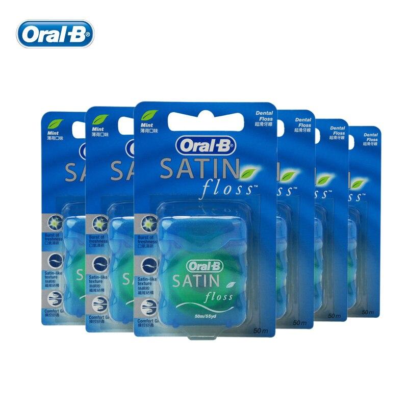 Oral B SATIN fil dentaire lisse nettoyage en profondeur soin des gencives hygiène buccale ciré fil plat Flosser menthe fraîche 50 m/pcs (6 pièces = 1 paquet)