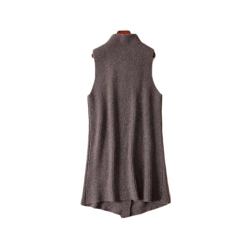 여성 앙고라 캐시미어 하이 오 넥 두꺼운 케이프 롱 조끼 판초 프론트 딥 슬릿 여성 민소매 랩 스웨터 드레스 겨울