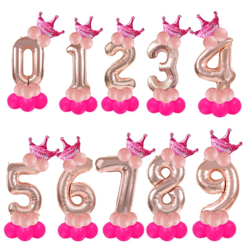 32inch rose gold number balloons birthday <font><b>party</b></font> decorations kids/adult <font><b>princess</b></font> prince 1st birthday crown ballons column balloon image