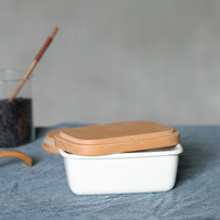 Japanese style porcelain enamel food storage box kitchen preservation bowl square simplified butter lunch box mess tin crisper