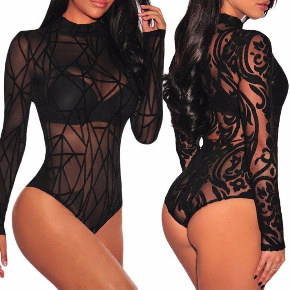 KLV Women Black Bodysuit Jumpsuits See-through Mesh Long Sleeve High Neck Bodysuit Leotard Top New Solid Fashion Skinny